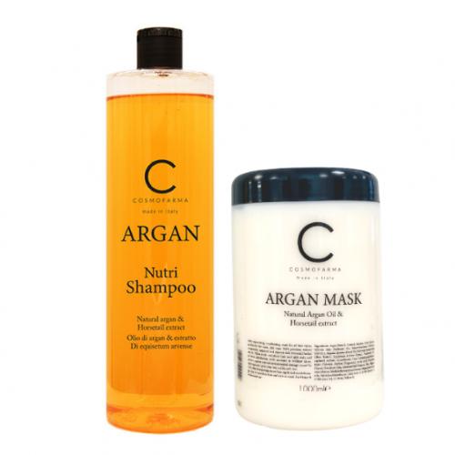 Plaukų šampūno ir kaukės rinkinys su arganu ARGAN 1000+1000 ml