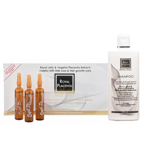 Serumo ir šampūno rinkinys nuo plaukų slinkimo ROYAL PLACENTA, 250/120 ml